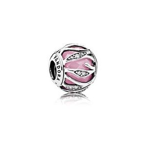 PANDORA CHARM NATURE'S RADIANCE, PINK & CLEAR CZ